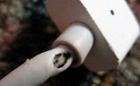 Frayed MacBook power cable