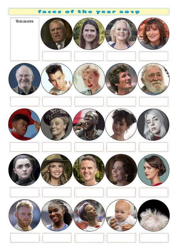 Faces Of The Year Printable Christmas Picture Quiz UK